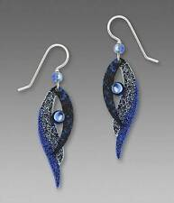 Adajio Earrings - Blue Folded Bird Wing with Light Blue Bead Handmade in USA