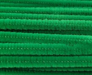 """Box of 100 Green 12"""" Long x 1/4"""" 6mm Wired Pipe Cleaners Craft Chenille Stems"""
