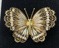 """VTG Sterling Silver & Gold Plated 3D Filigree Butterfly Pin Brooch 1 7/8"""" Large"""