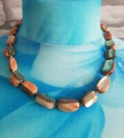 Vintage Glass Stone Chunky Collar length Necklace browns