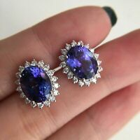 6Ct Oval Cut Tanzanite Push Back Halo Stud Earrings Solid 18K White Gold Finish