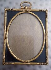 Antique picture frame gold-gilt-brass, Rectangle with oval center, Black border