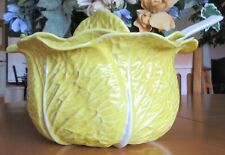 """Vintage Decorative Yellow Cabbage Tureen 10"""" With Lid, Soup Ladle"""