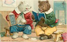 Tuck Embossed Postcard Ser. No.118 Dressed Little Bears 'Kept in at School'