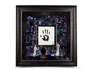"""Lionel Messi Autographed 36X36 Print FC Barcelona Framed """"Tegata"""" Hand #/20 UDA"""