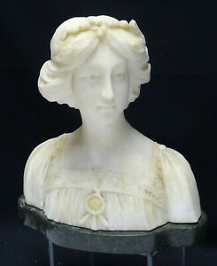 """EXTREMELY DETIALED ANTIQUE VICTORIAN LADY CARVED ALABASTER MARBLE BUST ~ 12"""""""