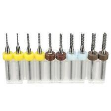 10Pcs PCB Carbide Tools End Mill CNC Cutting Bits Engraving Milling Cutters Kit