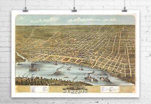 Memphis Tennessee 1870 Birds Eye City Map Fine Art Giclee Print Canvas or Paper