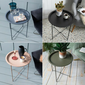 Round Side Coffee Table Tray Sofa Desk Living Room Night Stand End Metal Small