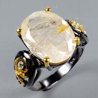 Rutilated Quartz Ring Silver 925 Sterling Fine Art11ct+ Size 8 /R128302
