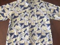 Cooke Street Honolulu 2X Hawaiian Shirt Aloha Blue White Green 100% Cotton XXL