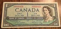 1954 CANADA 1 DOLLAR BANKNOTE - G/F - Beattie / Rasminsky