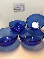 Cobalt Blue Glass BOWLS Soup Cereal Salad~ Set of 4~BRIGHT VIVID COLOR