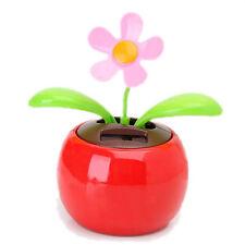 Flip Flap Solar Powered Flower Flowerpot Swing Dancing Toy - Red BT