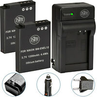 BM 2X EN-EL12 Batteries & Charger for Nikon Coolpix A1000 B600 P310 P330 P340