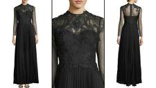 Kobi Halpetin Leigha High Neck Long Sleeve Column Gown Maxi Dress Black $995