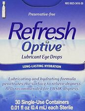 3 Pack - Refresh Optive Lubricant Eye Drop Single Use Container 30 Each