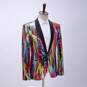 Men Shawl Lapel Suit Blazer Colorful Glitter Sequin Jacket Top Dance Costume Fit