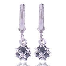 Black Onyx 9K White Gold Filled Megic Ball Womens Dangle Earrings,Z5080