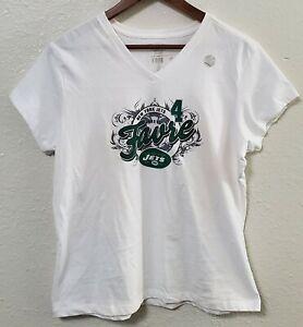 New York Jets Brett Favre Women's V Neck XL WHITE T Shirt