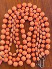 Antique  Old Natural Carved Angel Skin Coral 3 Strands Beads  Necklace 65g
