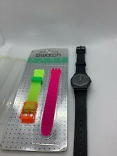Vintage Swatch Watch Black Pinstripe LA100 Swiss w/ Extra Neon Pink/ Yellow Band