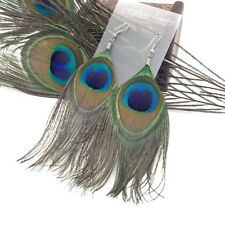 Fashion Women 1Pair Peacock Feather Drop Dangle Tassel Ear Hook Earrings Jewelry
