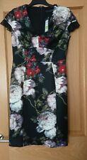 Marks & Spencer femmes robe noire avec Crème/Rouille motif floral de taille 12