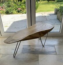 Large solid Oak Coffee Table with natural live edge and modern metal legs.