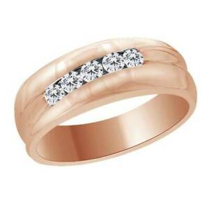 0.44Ct Natural Diamond 14K Rose Gold Over Silver Mens 5-Stone Wedding Band Ring