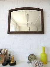 Vintage Large Art Deco Bevelled Edge Wall Mirror with Wooden Oak Frame