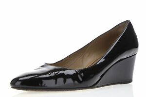 Anyi Lu Womens Black Patent Leather Slip On Wedges Heels Shoes Size 39