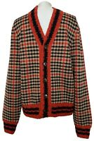 NEW, GUCCI RED PLAID WOOL CARDIGAN SWEATER, M, $2250