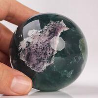 366g 60mm Natural Green Fluorite Quartz Crystal Sphere Healing Ball Chakra Decor