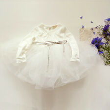 Tutu Dress Kids Girls Long Sleeve Cotton + Tulle Party Wedding Birthday Dresses