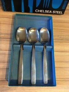 Vintage Viners of Sheffield,England Chelsea steel Dessert Spoons, Knives & Forks
