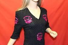 70er 80er 70s 80s Vintage Pailletten SHIRT Oberteil SEIDE SILK Sequin TOP Bluse