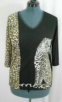 Valentina Woman's Large Leopard Print Pullover Top Elbow Sleeve Rhinestones