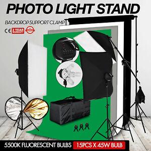 Kit Eclairage Photo Studio Softbox Toile de fond Robuste Réglable Télescopique