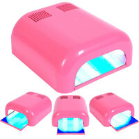 Pink 36W Manicure Nail Polish UV Lamp Dryer Gel Curing Acrylic Timer Light New