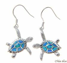 925 Sterling Silver Rhodium Hawaiian Honu Sea Turtle Opal Hook Wire Earrings