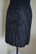 0P ANN TAYLOR LOFT BLACK LACE NUDE LINING ABOVE KNEE DRESS PENCIL CAREER SKIRT