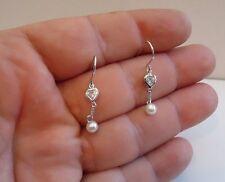 925 STERLING SILVER LADIES DANGLING EARRINGS W/ 5MM ROUND PEARL & 1 CT DIAMOND
