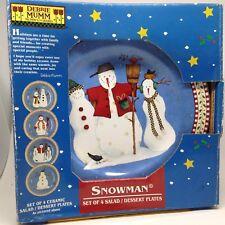 Debbie Mumm Snowman Set 4 SALAD DESSERT PLATES Sakura Oneida Target Safe