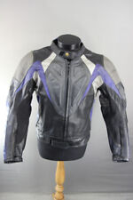 BELSTAFF BLACK, SILVER & BLUE LEATHER BIKER JACKET WITH KNOX CE ARMOUR 40 INCH