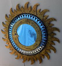 Espejo sol luna Oro antiguo diámetro 100 cm con mosaico de vidrio Sol/Luna