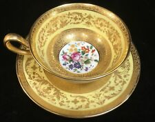 Cauldon England Gold Encrusted YELLOW CUP & SAUCER SET for Ovington Bros. NY