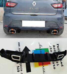 RENAULT CLIO 4 IV 2012-2019 DIFFUSORE POSTERIORE LOOK RS ABS NERO LUCIDO