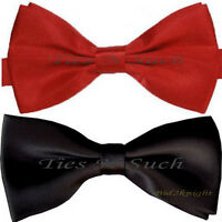 UK Men's Pre-Tied Bow Ties Plain Solid Wedding Bow Tie Halloween - BLACK or RED