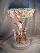 Antique Porcelain Bisque Kids & Apple Tree Compote Pedestal Bowl